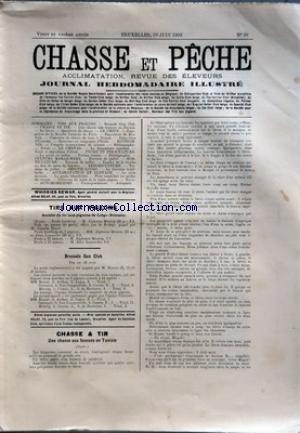 CHASSE ET PECHE [No 39] du 28/06/1903 - TIRS AUX PIGEONS - SCLESSIN - BRUSSELS GUN CLUB - CHASSE ET TIR - UNE CHASSE AUX FAUCONS EN TUNISIE - SERINS ECOSSAIS
