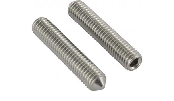 Gewindestifte mit Innensechskant und Spitze SC-Normteile ISO 4027 DIN 914 V2A 10 St/ück M3x4 - - Madenschrauben - SC914 - aus rostfreiem Edelstahl A2