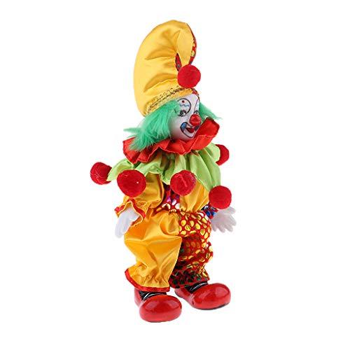 Fenteer Lustige Clownmann Puppe mit Clown Kostüm, Ornament für Halloween Haus Tisch Dekoration - # 1