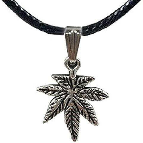 Collar con colgante símbolo hoja de Mariuana y cordón de cordón negro–idea regalo
