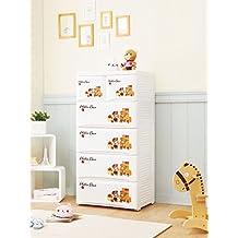 Cómoda blanca infantil para la habitacion de tu bebé con 4 cajones grandes y 2 pequeños, polipropileno plástico, cajonera mueble auxiliar, organizador, mueble