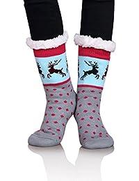 DOFUN Women Girl Warm Winter Fuzzy Fleece Lined Slipper Socks -Cartoon Deer Christmas Socks Gift Idea