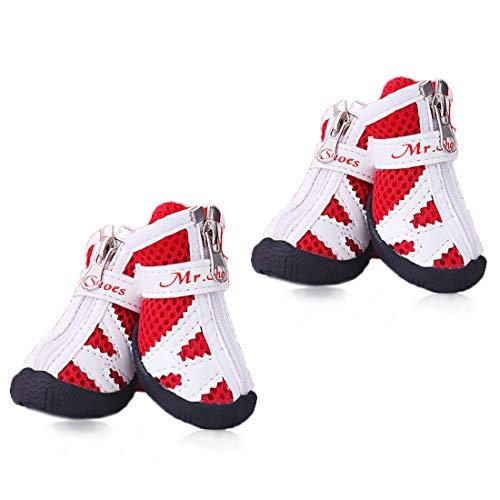 XXXS Hundeschuhe Tennis Laufen - kleine Hunde Stiefel Atmungsaktiv Mesh Pfotenschuhe - Haushunde Schuhe rutschfest bleiben auf Indoor Schuhe für Pudel/YorkshireTerrier/Chihuahua rot, size 3, rot - Mesh-tennis-schuhe