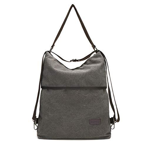 JOSEKO Canvas Tasche Segeltuch Schultertasche Damen Rucksack Handtasche Vintage Damen Umhängentasche für Reise Outdoor Schule Einkauf Alltag Büro Grau -