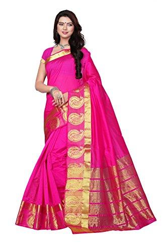 Maxis Women's Tassar Cotton Silk Saree With Zari Border