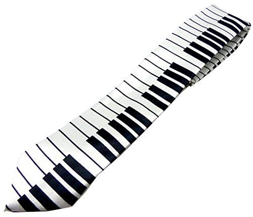 Musiker-Krawatten weiss Herren Damen Schlips Motiv Klavier-Tasten Flügel-Piano Krawatte Men Woman Cravat Neck-tie Music white 5176 (Grüne Die Karo-taste)