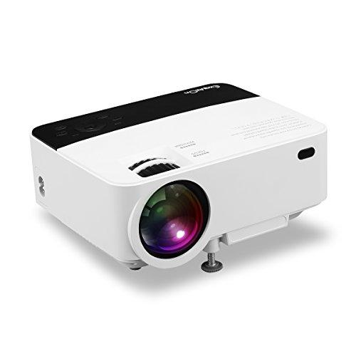 ExquizOn T5 - Mini Projecteur Vidéo LCD LED 1500 Lumens avec Capteur Infrarouge Double Supporte HD 1080P et Multi Écran pour Les Multimédias Smartphone Tablette Home Cinéma Jeu Vidéo Noir & Blanc
