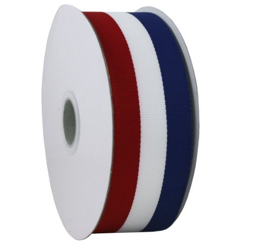 White Stripe Grosgrain (Jascotina Red White and Blue Grosgrain Ribbon 1.5