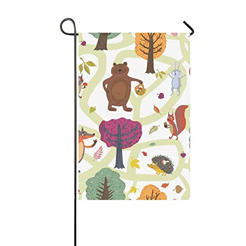 chöne Nacht Cartoon Waldtiere Garten Flaghouse Yard Flaggarden Yard Decorationsseasonal Willkommen Outdoor Flagge 12X18 Zoll ()