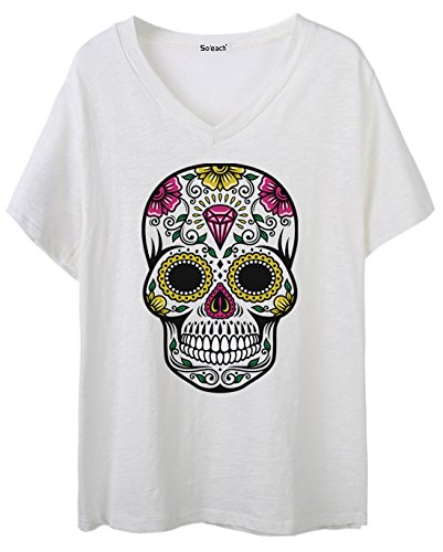So'each Women's Floral Skull Graphic V-Neck Tee T-shirt Ladies Casual Top Weiß