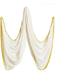 DollsofIndia Plain White Synthetic Dupatta With Yellow Lace Border - 35 X 84 Inches (NY94) - White