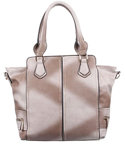 Borsa donna simil pelle borsa tracolla similpelle borsa manici borsa ecopelle,cm 26 x cm 35 beige