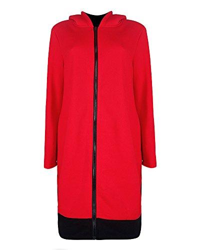 Romacci Women Long Hooded Sweatshirts Coat Contrast Casual Pockets Zipper Outerwear Hoodies Jacket