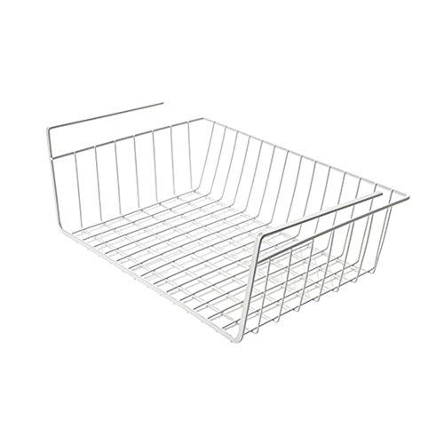 DULPLAY Schrankkörbe,Unter tabelle regallager,Küche-raster,Platzsparend Engmaschig raster Metall-design Für pantry cabinet schrank -Weiß 13x10x4inch(34x26x11cm) (Pantry-speicher-körbe)