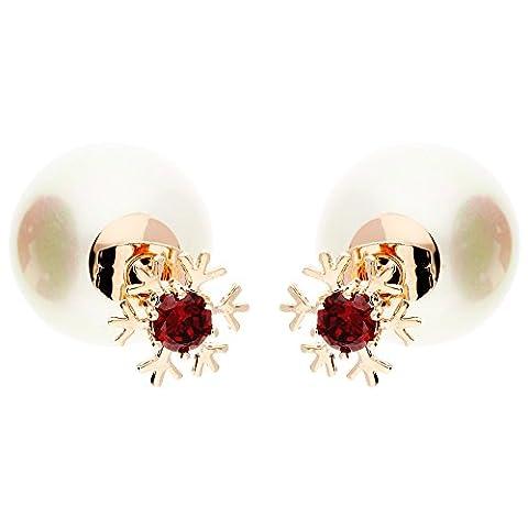 MYA art Damen Ohrringe Doppel Ohrstecker Schneeflocke mit Zirkonia Solitär Perlen in Rosegold Vergoldet Rot MYARGOHR-45