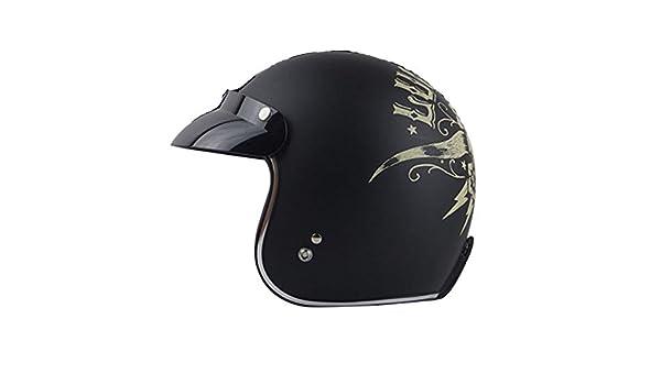 Size : M TONGDAUR Gestreifte Flamme Motorrad Elektroauto Helm Harley-Stil Pers/önlichkeit Halbhelm Au/ßenreit Sommer-Sturzhelm bequem und atmungsaktiv