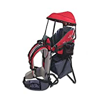 Baby Toddler Hiking Backpack Carrier with Stand Child Kid Sunshade Shield (Red)