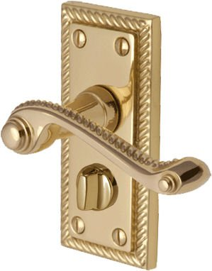 Polished Brass Georgian Suite Privacy WC Door Handles Pair - inexpensive UK light store.