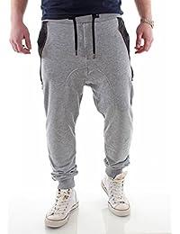 Young & Rich Low Crotch Jogginghose mit Ledertasche grau Größe S