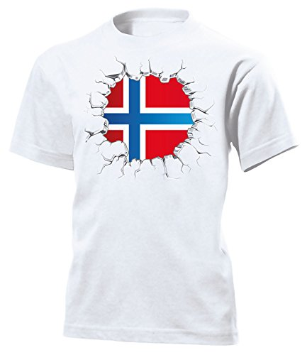 Norwegen 5766 Fan Fussball Kinder Kids Jungen Mädchen Unisex Fanshirt Shirt Tshirt Fanartikel Artikel T-Shirts Weiss 140 (Norwegen Fußball Trikot)