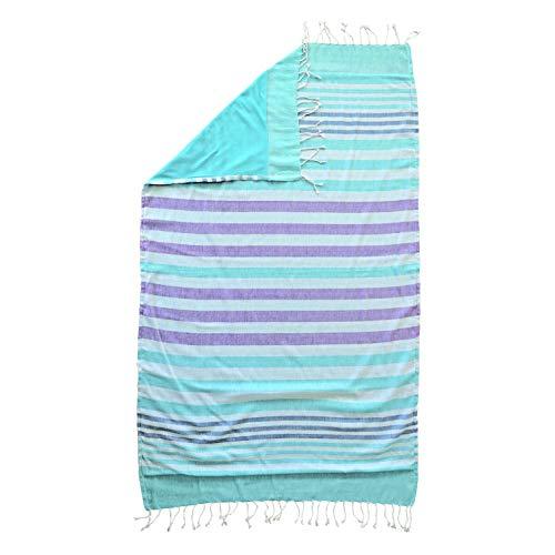 DHestia - Pareo de Playa con Flecos de 100% Algodón Rizo de 150x100 cm. Toalla Monett (Azúl Turquesa)