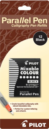 Pilot Parallel Pen Ink Refills for Calligraphy Pens, Black, 12 Cartridges per Pack (77313)  available at amazon for Rs.966