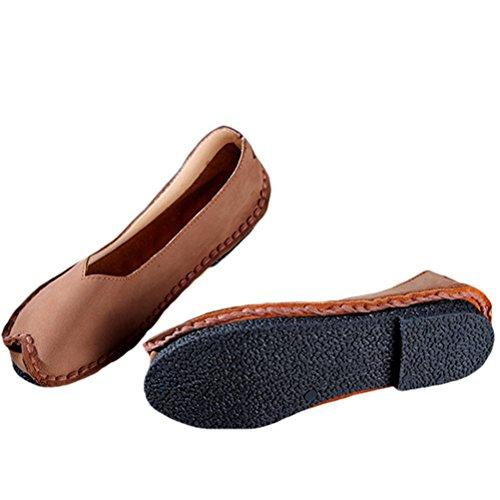 Vogstyle Donna Nuove Scarpe Unico In Pelle Slip-On Fatto A Mano Stile 2-Marrone