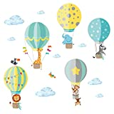 Little Deco Sticker Zoo Animali in Mongolfiera I S - 65 x 42 cm (LxA) I Wall Pictures Wall Tattoo Children's Room Boys Boys Animali Deco Boys Baby Room Boys Sticker DL202