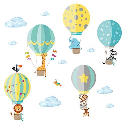 Little Deco Aufkleber Zoo-Tiere im Heißluftballon I M - 130 x 85 cm (BxH) I Wandbilder Wandtattoo Kinderzimmer Jungen Tiere Deko Jungs Babyzimmer Junge Sticker DL202