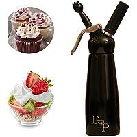 Sifón dispensador de nata montada de DFP con 3 boquillas de decoración (500 ml) de color negro