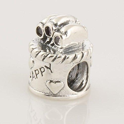 TAOTAOHAS Oxydé Antique Charm Beads Perles, en argent 925/1000 sterling, et Cristal( joyeux anniversaire, mocca ) fit européen Bracelets Charme Breloques Mocca