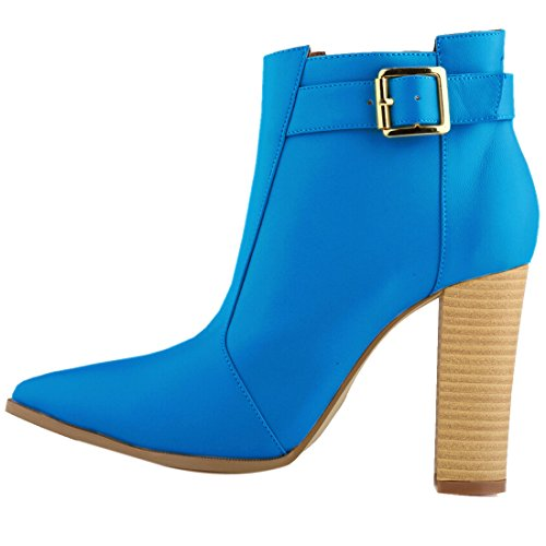 Oasap Women Fashion Solid Chunky High Heel Ankle Bootie blue