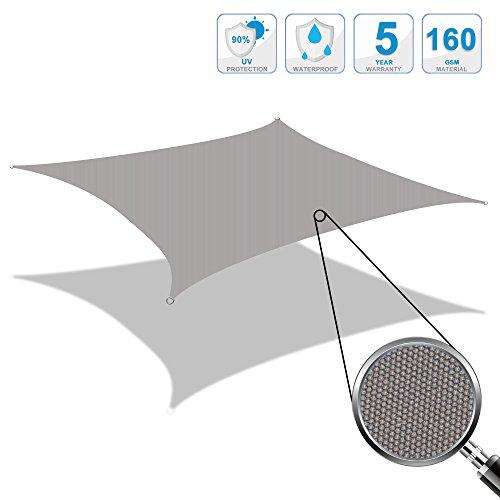 Cool Area Sonnensegel Quadrat wasserabweisend 4,5x4,5m, Sonnenschutz wetterbeständig PES für...