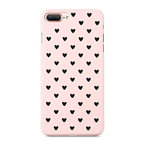 XMDSJKGC Fundas Caja Estuche para iPhone 7 7 Plus 8 8 Plus Estuche Hard Mate Chic Polka Dot Wave Point para iPhone X XS MAX XR 5 6 6S Plus, Corazón Negro Rosa, para XS Plus (6.5)