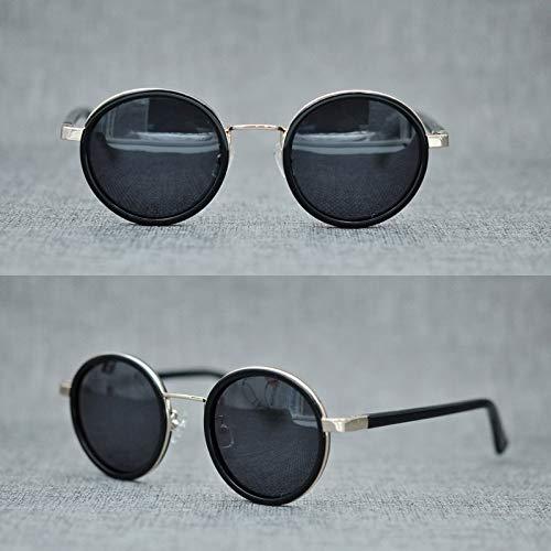 LKVNHP New Hochwertige Klassische Vintage Polarisierte Sonnenbrille Männer Mode Sonnenbrille Für Männer Markendesigner Runde Kleine Shades MannSchwarz