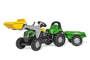 ROLLY TOYS FS 023196 Deutz - Tractor a Pedales con Pala Delantera y Remolque (169 cm) Importado de Alemania