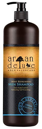 Argan Deluxe Herren Shampoo in Friseur-Qualität 1000 ml - Starkes Pflegeshampoo mit Minze für Männer