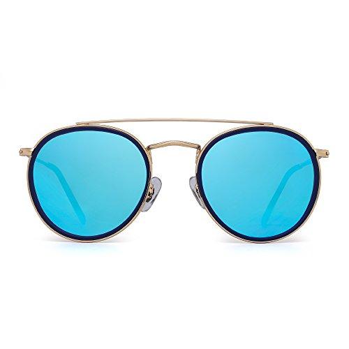 JIM HALO Runden Polarisiert Sonnenbrille Metall Rahmen Flach Kreis Linse Brille Damen Herren(Gold-Legierung Blauer Tipp/Polarisierter Spiegel Blau)
