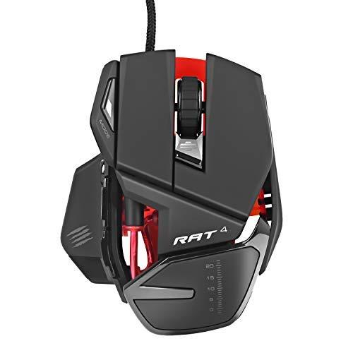 Mad Catz RAT 4 Gaming Maus für PC verdrahtete optische USB-LED-RGB-Aktualisierung 9 programmierbare Tasten, 4 einstellbare DPI (bis zu 5000)
