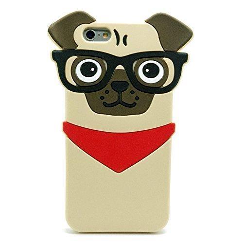 Iphone 6S Hülle, Iphone 6 Tasche, 3D Stereo Cartoon Hund Mops Pug Handyhülle für iPhone 6 und iPhone 6S Niedlich Schutzhülle