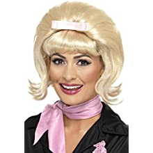 Smiffys 50's Flicked Beehive Bob with Ribbon Bow - Blonde