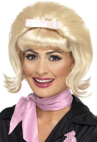 Blonde Fever Perücke Kostüm - Smiffys Damen 50er Jahre Bienenstock Bob Perücke mit Pony und Haarschleife, One Size, 43229