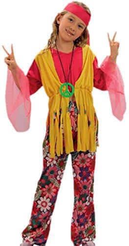 chen Kostüm Hippie mit Shirt, Weste, Kopfteil und Hose, 134/140, Rot (Hippie Mädchen Kostüm)