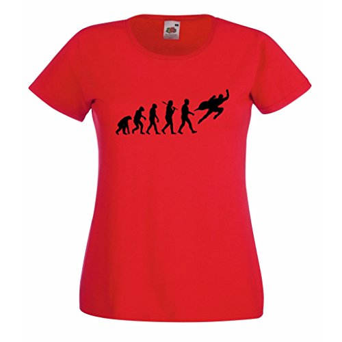 1StopShops Evolution Superheld Damen rot T-Shirt mit schwarz Druck Gr. X-Large, rot