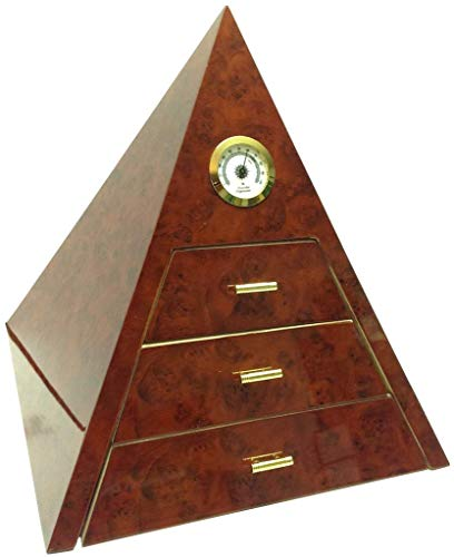 Caja de puros con una forma piramidal hecha externamente en madera de caoba y en cedro español en su interior. Artículo con acabados elegantes de la calidad, el panel más alto higrómetro y tres humidificadores internos.