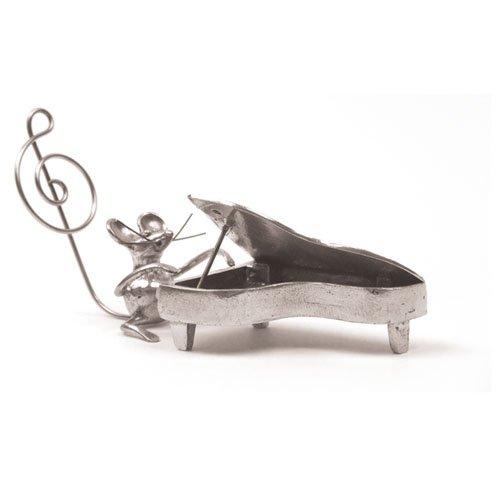 Souris Piano Miniature - Porte-Photo - Etain 95,5% - Fabriqué en France - Objet déco - Cadeau musique