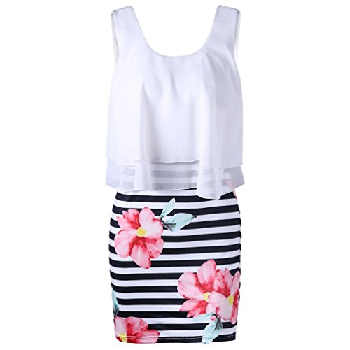 Gaddrt Womens Fashion Casual Floral Striped Print Tight O-Neck Chiffon Mini Tank Dress
