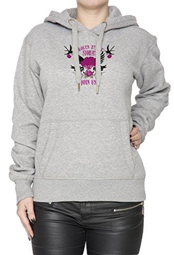 Broken Heart Stories Donna Grigio Felpa Felpa Con Cappuccio Pullover Grey Women's Sweatshirt Pullover Hoodie