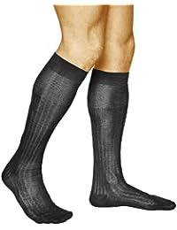 vitsocks Chaussettes Hautes Homme 100% COTON MERCERISÉ (Lot de 2) Habillées  Côtelées Élégantes 95cd5a4cc23