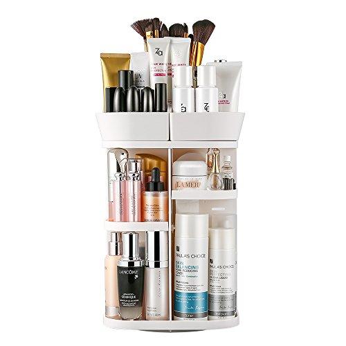 Jerrybox Schmink Aufbewahrung, 360 Grad Drehbarer Kosmetik Organizer mit Einstellbare Nagellack Lippenstift Pinsel Aufbewahrung, Praktisch für alle Make Up Zubehör, Weiß